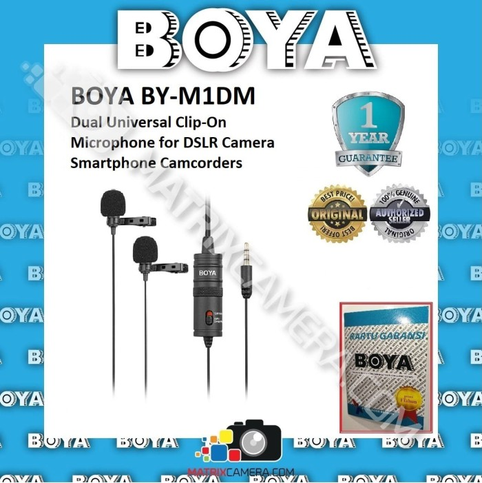 Foto Produk BOYA BY-M1DM Dual Clip-On Microphone for DSLR Camera Smartphone dari MatrixCamera