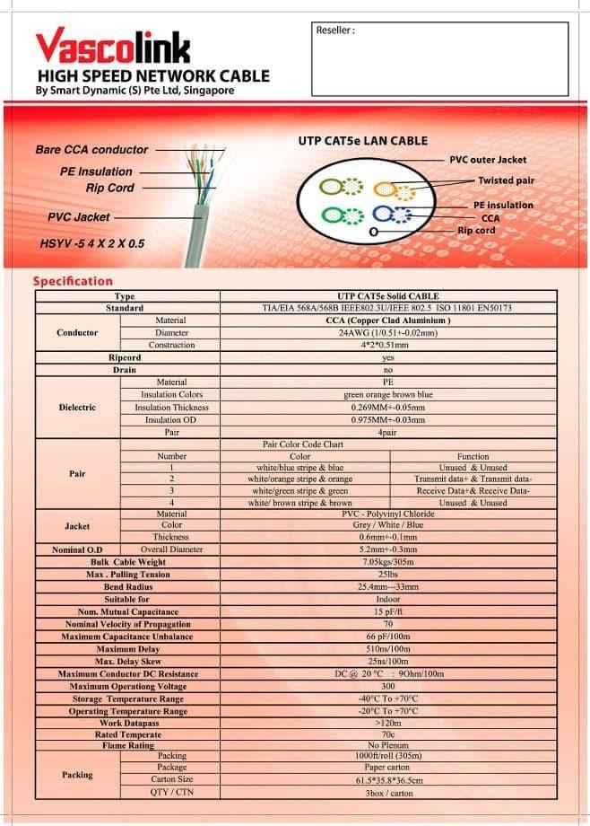 Jual Vascolink Utp Cable Cat5e Cca Kabel Lan Cat5e 305m Kab Temanggung Berkah R K Tokopedia