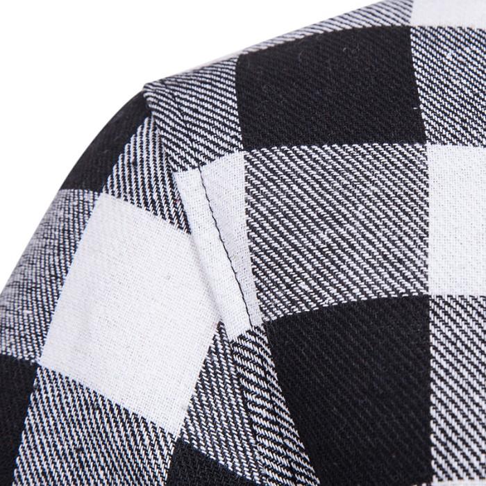 edd6785c427 Jual NIBESSER Men Plaid Shirts Long Sleeve Hooded Shirt Male Fashion ...