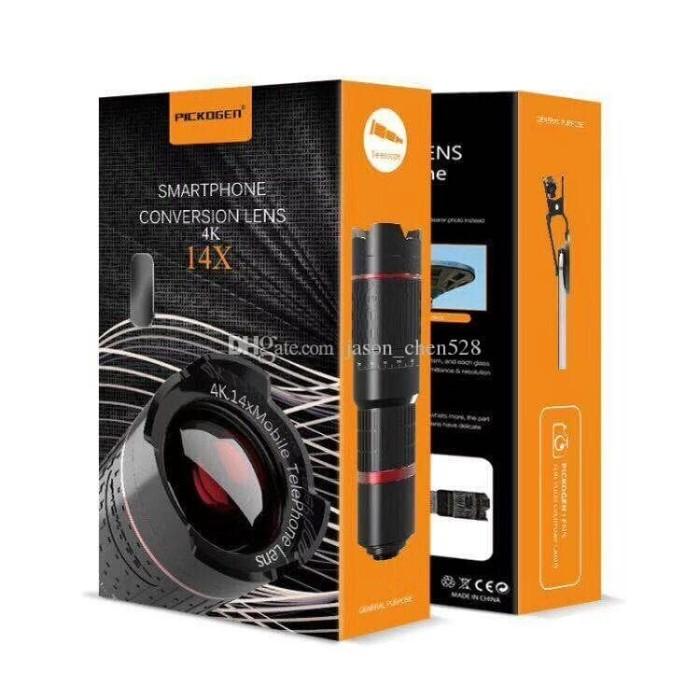 harga Lensa pickogen tele zoom 14x kualitas 4k + clip jepit & mini tripod Tokopedia.com