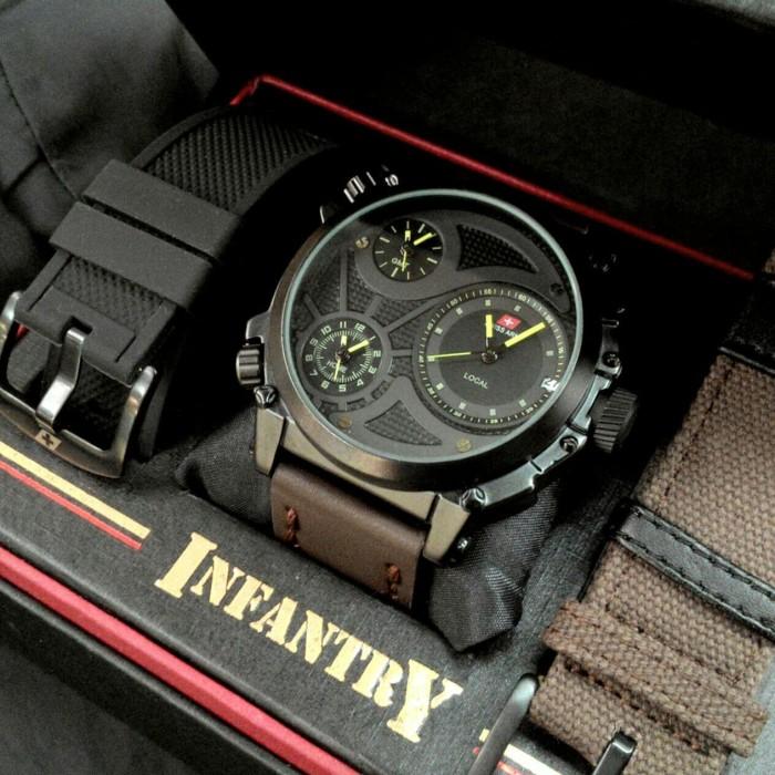 jam tangan SWISS ARMY INFANTRY PRIA ANALOG TRIPLE TIME FULL SET KULIT