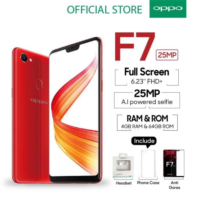 oppo f7 smartphone 4gb/64gb red (garansi resmi oppo indonesia)