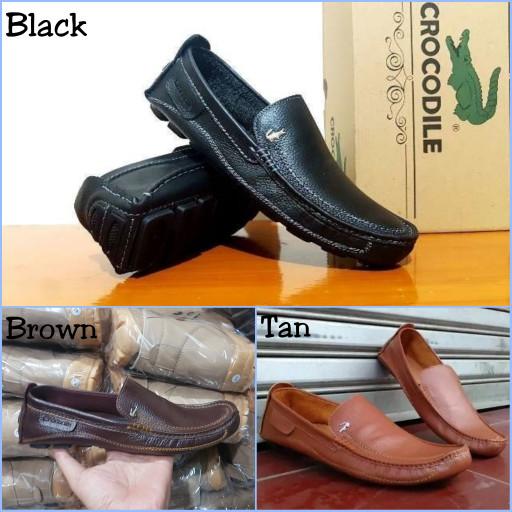 harga Sepatu slop slip on casual formal pria crocodile kulit asli Tokopedia.com
