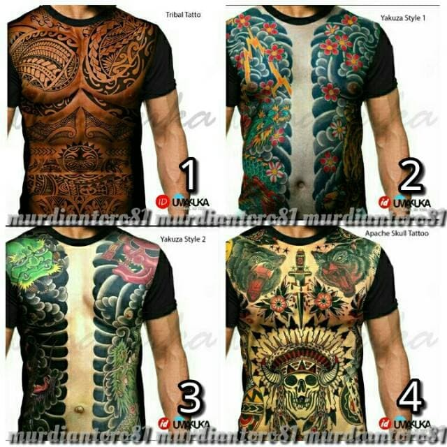 harga Kaos 3d umakuka full print  body six pack tattoo Tokopedia.com