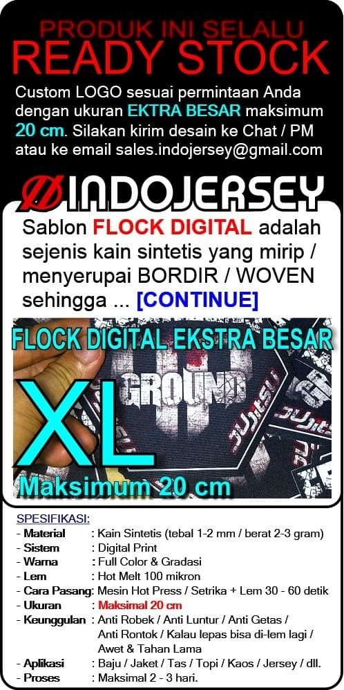 Foto Produk Stiker Baju CUSTOM LOGO FLOCK EKSTRA BESAR dari Indojersey