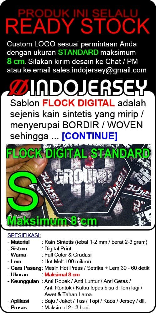 Foto Produk Stiker Baju CUSTOM LOGO FLOCK dari Indojersey
