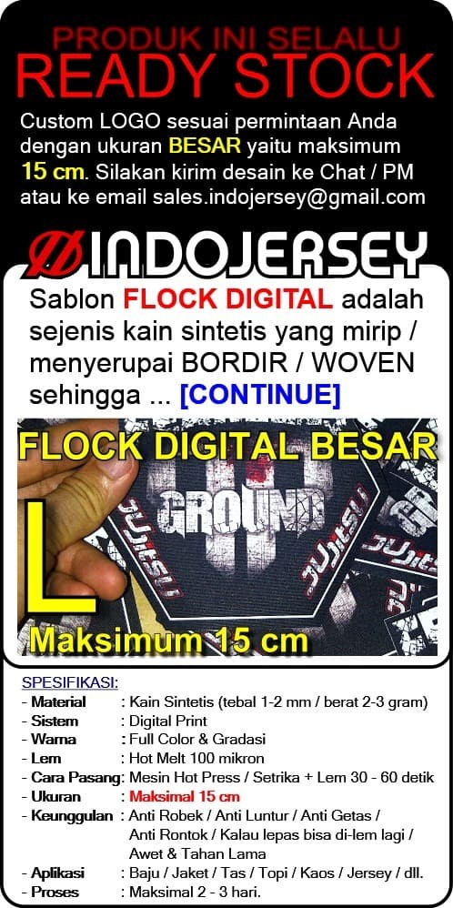 Foto Produk Stiker Baju CUSTOM LOGO FLOCK BESAR dari Indojersey