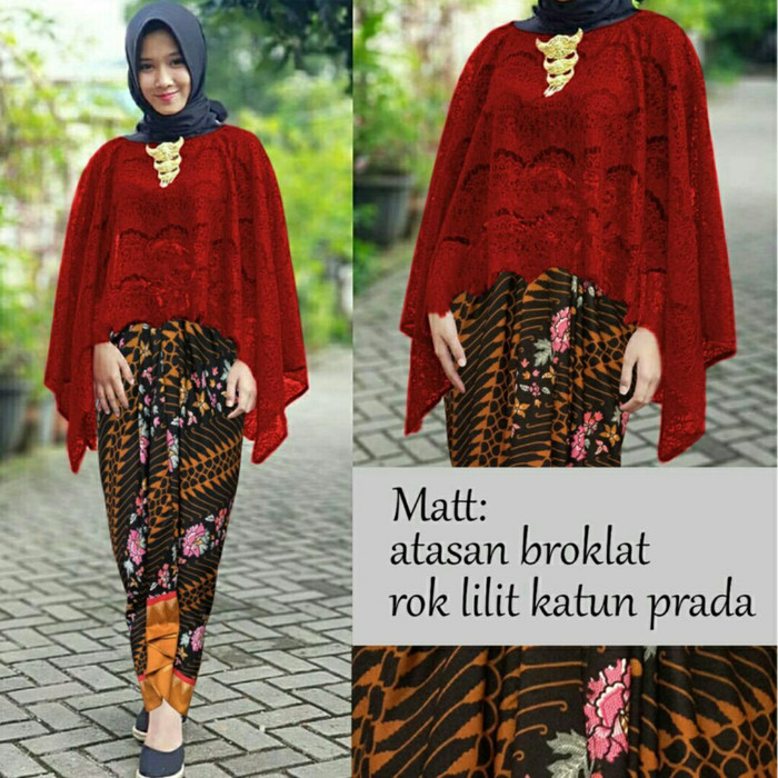 harga Setelan kebaya brukat/brokat lengan panjang modern cantik rok batik Tokopedia.com