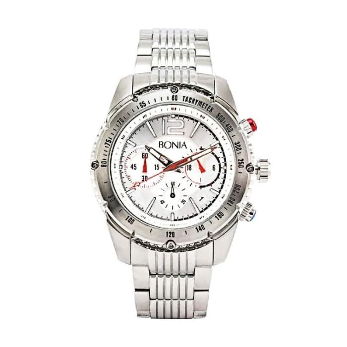 [original] bonia bpt189-1315c jam tangan pria stainless steel silver