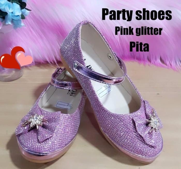 terbaru Sepatu anak perempuan PARTY PINK PITA GLITTER