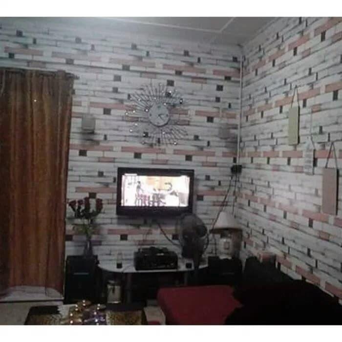 jual wallpaper sticker dinding motif kayu vintage - kota bekasi