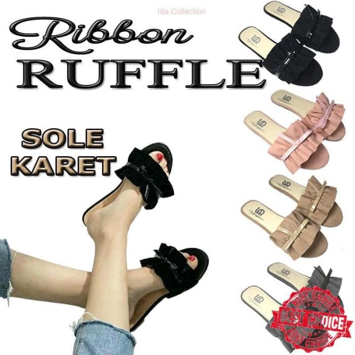 Pecinta Sepatu Masuk|| Sendal Ruffle Kerut Selop Teplek Pita Wanita