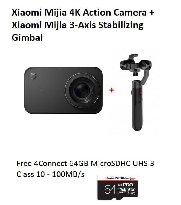 Foto Produk Xiaomi Mijia 4K Action Cam & Stabilizing Gimbal + 64GB Class10 MicroSD dari BEST MEMORY