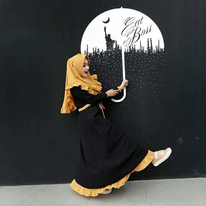 Gamis Hitam / Baju hijab syari / Pakaian muslim wanita : Arsyila Syari 1