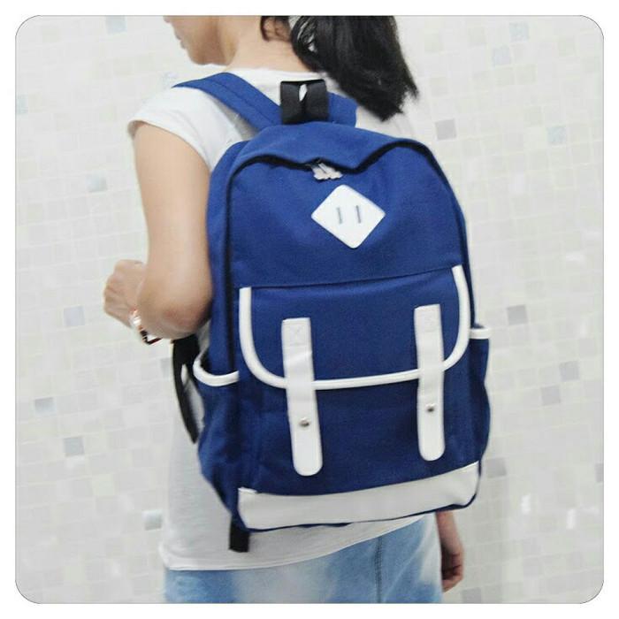 Jual Tas Pria Kanvas Backpack Tas wanita Ransel Punggung Kuliah ... 1983d3a402