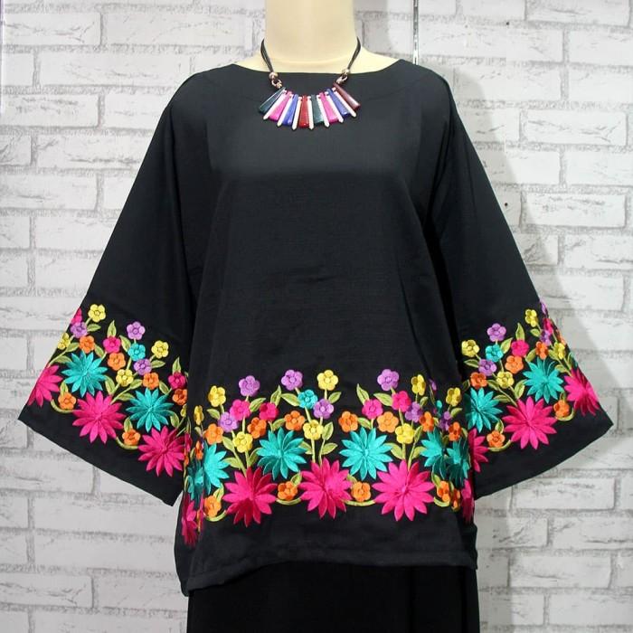 Jual Baju Blus Cantik Hiasan Bordir Bunga Warna Warni Pelangi