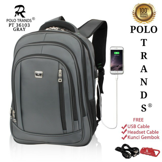 Jual Tas Ransel Laptop Kerja Sekolah Polo Trands 36103 Original - Grey -  duniatasbatam  d8cc7ff2b6