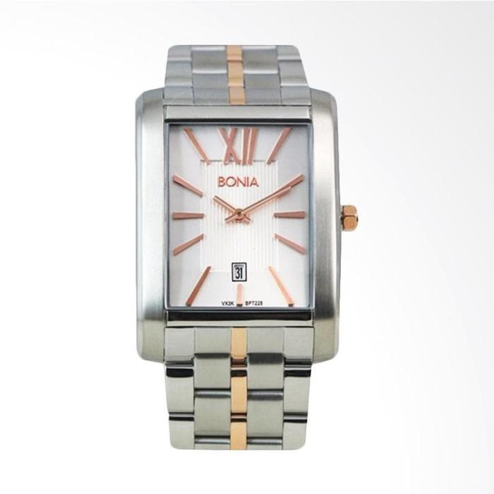 [original] bonia bpt228-1613 jam tangan pria stainless steel silver