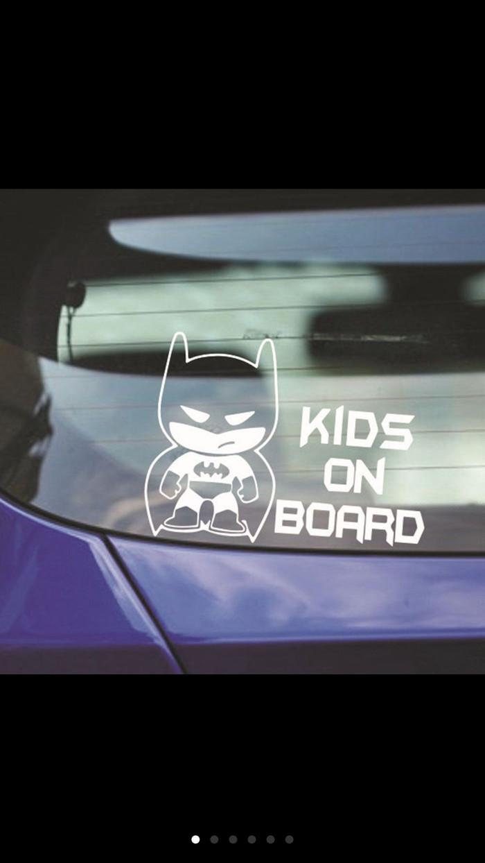 Sticker keren lucu keren model batman tulisan kids on board silver