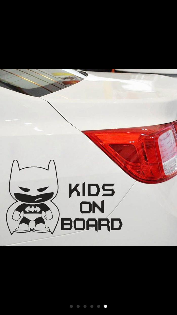 1pc sticker keren lucu unik model batman tulisan kids on board black