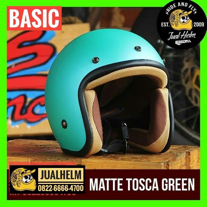 harga Helm retro basic matte tosca green / helm retro / helm classic Tokopedia.com
