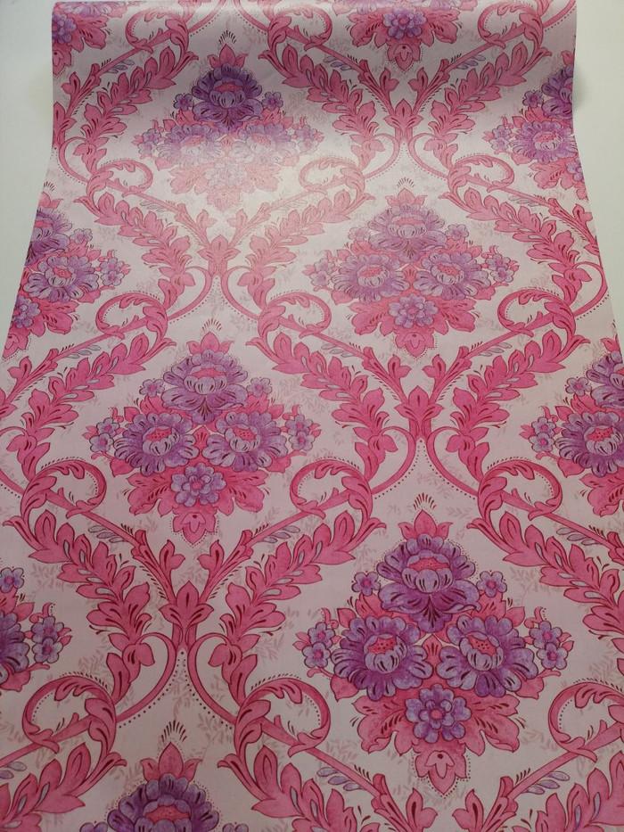 Foto Produk Bunga luxury purple on pink 45 cm x 10 mtr || Wallpaper dinding dari dedengkot wallpaper