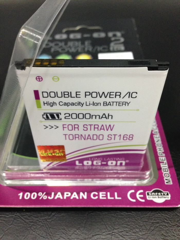 harga Baterai strawberry straw tornado st168 2000mah double power log on Tokopedia.com
