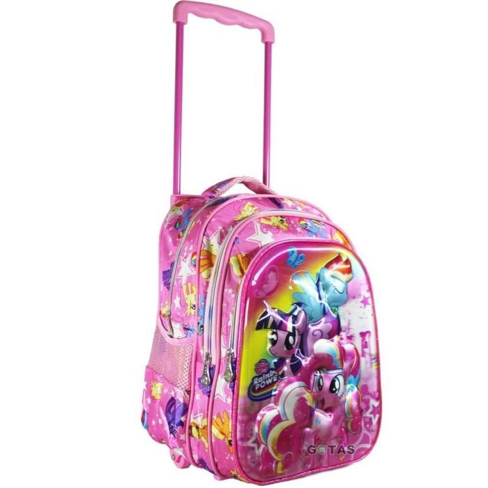 NEW Tas Ransel Troli Anak Sekolah SD Karakter Little Pony 5D 3 Kantong