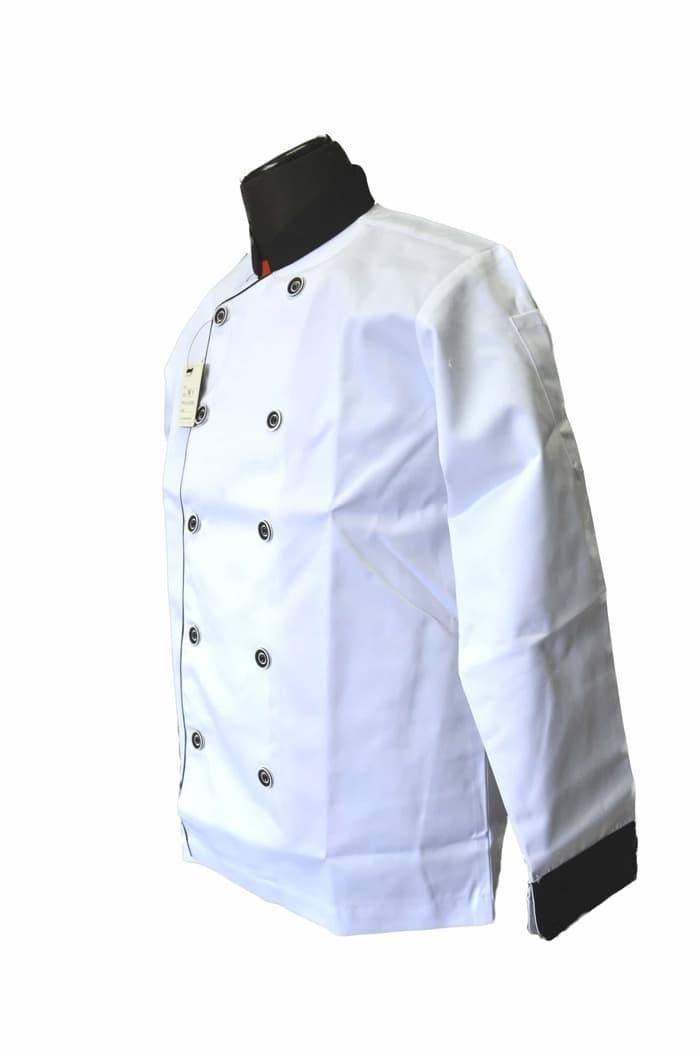 BAJU KEMEJA TERBARU Baju Koki Putih Lengan Panjang 1