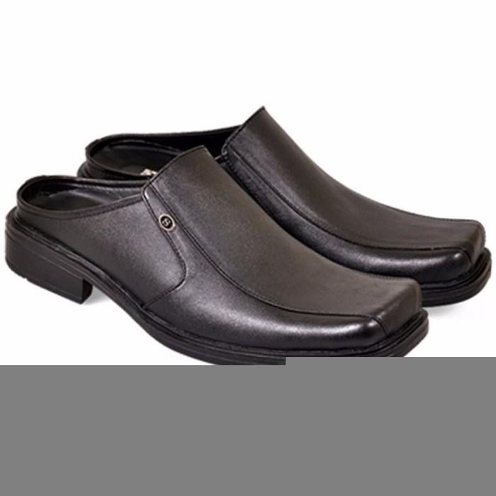 Jual Sandal Sepatu Formal Pria sandal bustong pantofel kulit hitam ... 54c70da45f