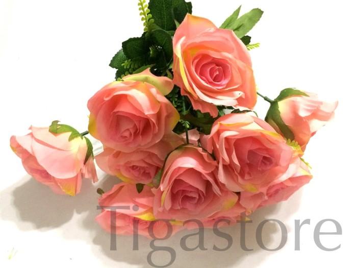harga Bunga mawar rose pink artificial impor k12 grup Tokopedia.com