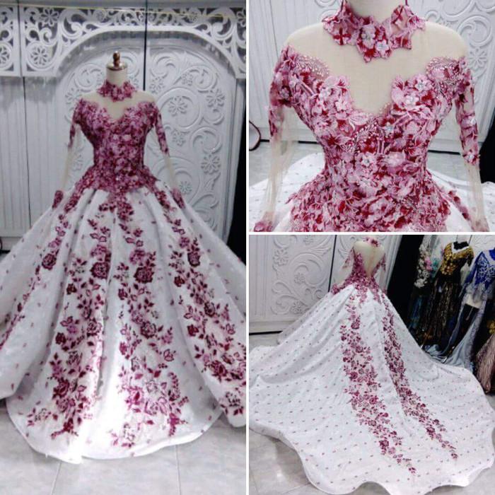 Jual Gaun baju kebaya pengantin rok jaguard ekor non payet bunga 3D ... 49ee23a29b