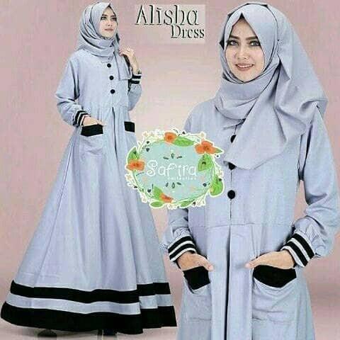 Jual Pakaian muslim wanita model baru Gamis dress murah Alisha Dress ... 699dc71062