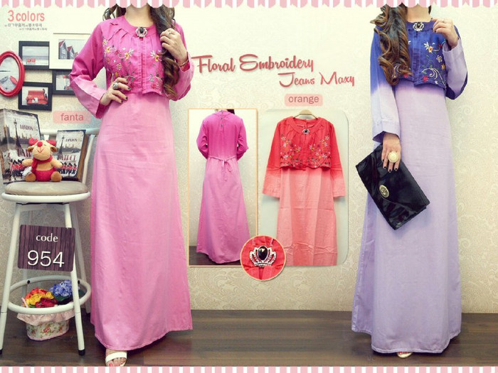 harga Baju gamis dress rok panjang wanita bahan soft jeans ungu pink orange Tokopedia.com