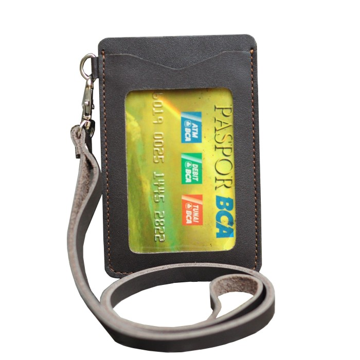 harga Id card holder kulit gantungan id card kulit name tag coklat tua Tokopedia.com