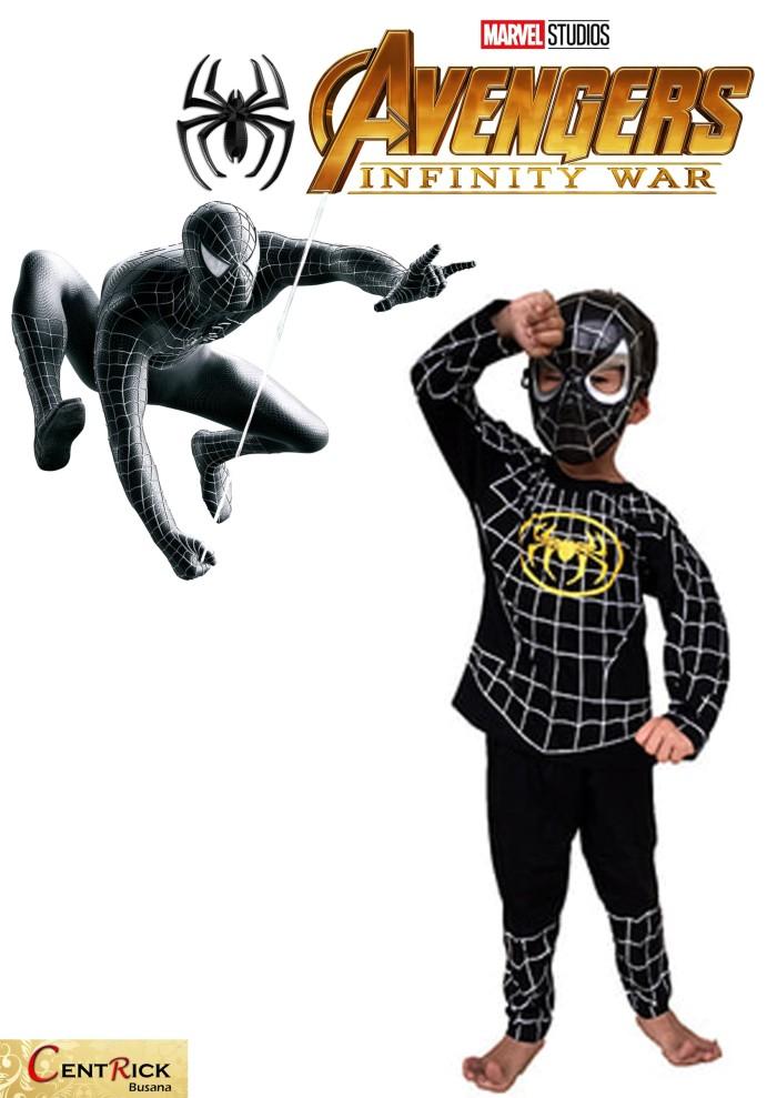 Kostum baju anak dengan topeng superhero black spiderman avenger