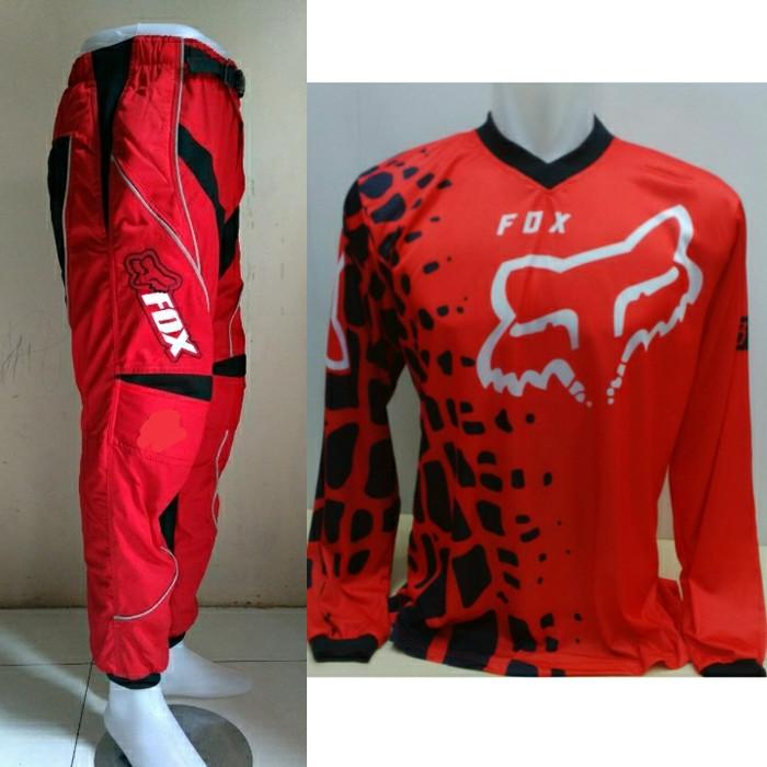 harga Jersey celana merah premium setelan trail cross motocross fox Tokopedia.com