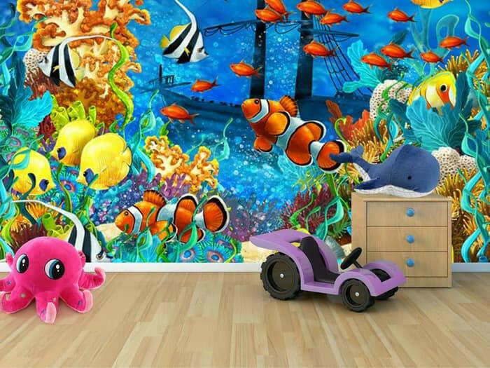 Jual Wallpaper Custom 3D 3 Dim3nsi Ikan laut bs utk lantai kamar