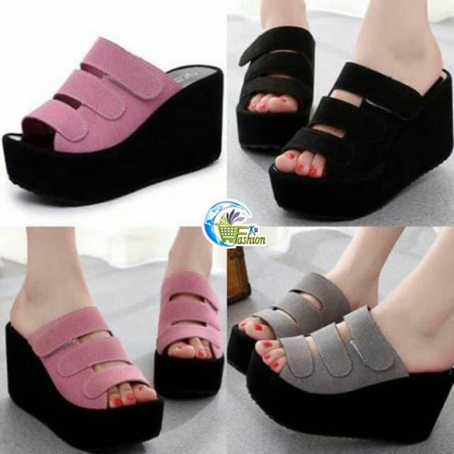 harga Sepatu sandal wedges wanita sepatu heels casual wanita hitam pink lucu Tokopedia.com