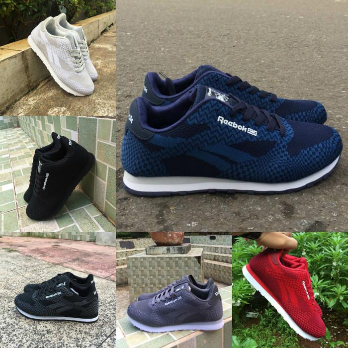 Reebok classic size 39 - 43 sepatu pria sneakers casual hitam navy abu