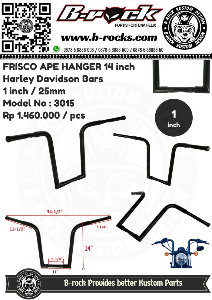 harga Handlebar frisco ape hanger 14inc black model no 3015 Tokopedia.com