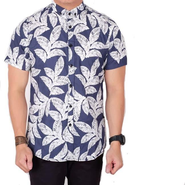 kemeja pria lengan pendek batik songket navy slimfit / baju batik slim