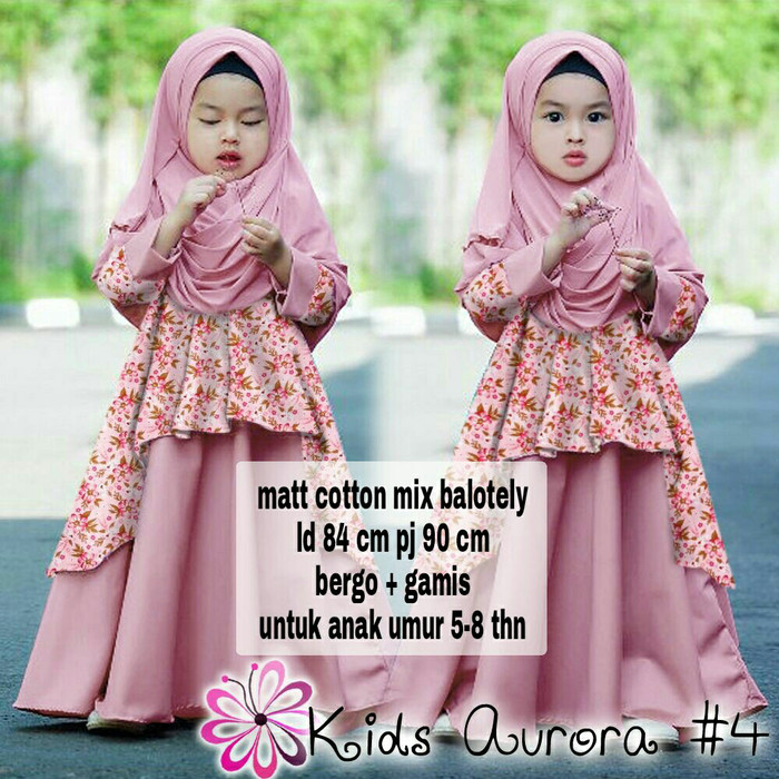 harga Tulip kids 5-8thn part 4 syari gamis maxi dress anak + jilbab Tokopedia.com