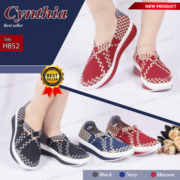 Sepatu anyam / sepatu rajut wedges cynthia h852 .
