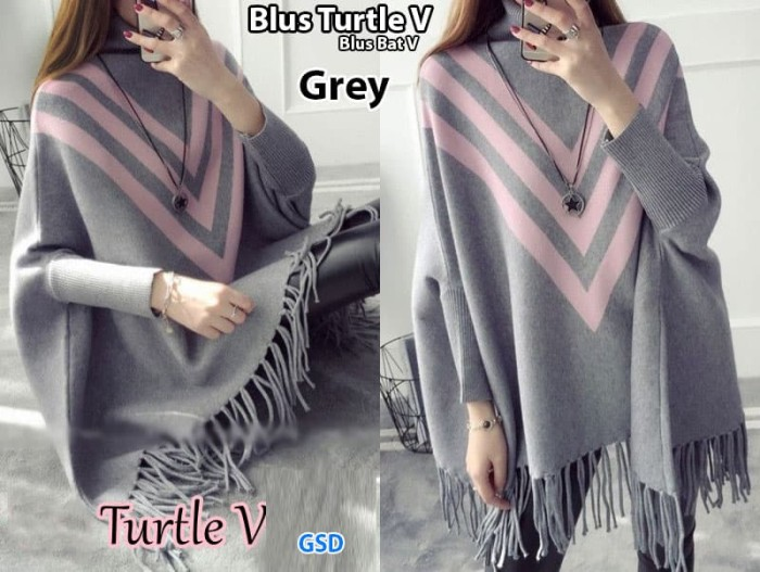 harga Blus turtle v abu/blus kalong/atasan wanita/blouse model kelelawar Tokopedia.com