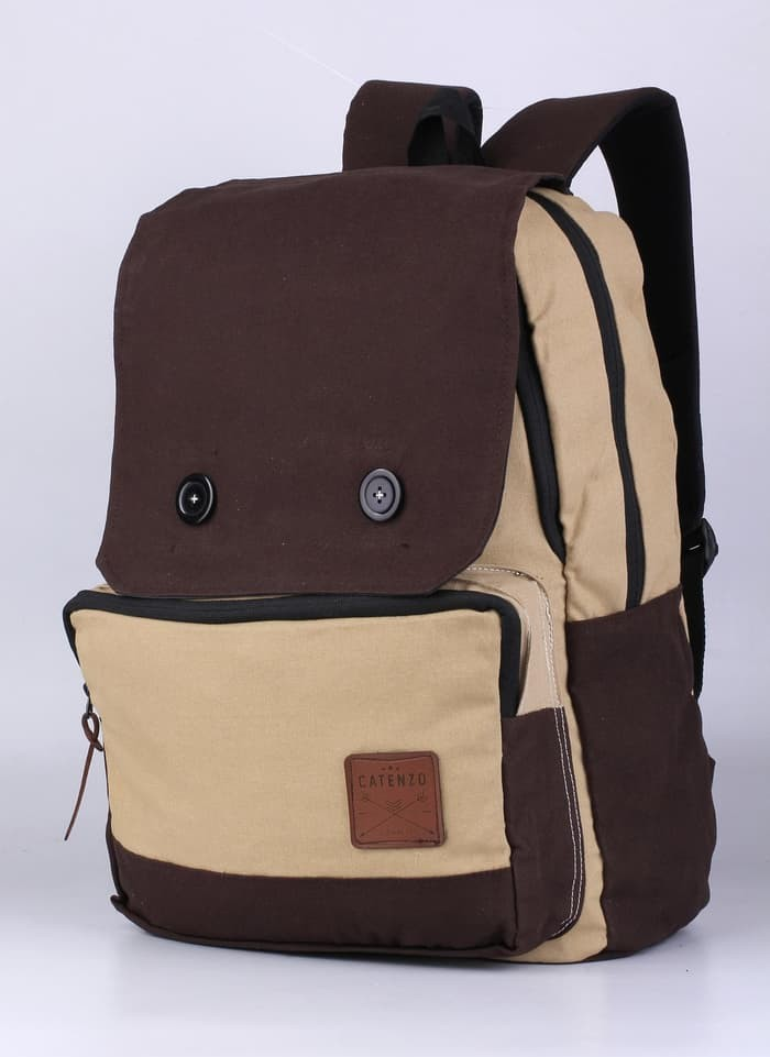 Tas Backpack Pria canvas coklat Catenzo YD 029 ori asli original murah