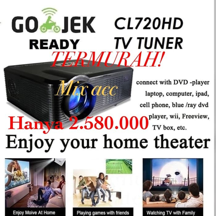 Original Cl720 Led Projector 3000 Lumens 1280 X 800: Jual Cheerlux CL720 HD Proyektor Projector Portable LED