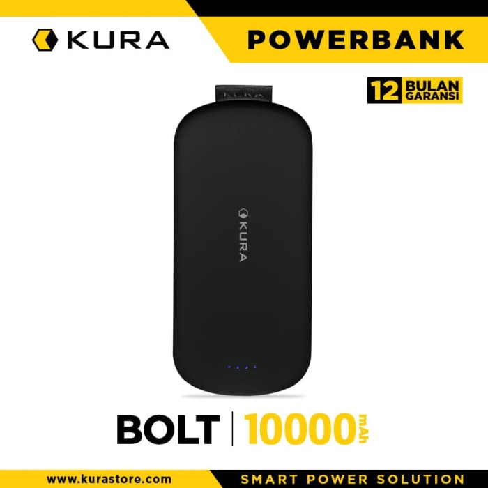 kura powerbank bolt 10000 mah - hitam