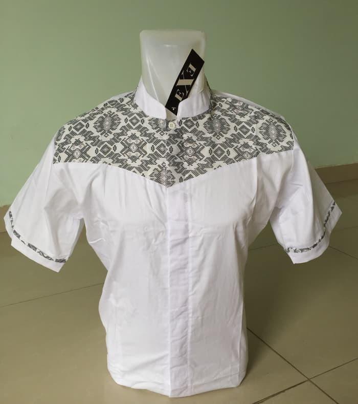 BAJU TERBARU Kemeja / Baju Koko Muslim Pria eXe - Putih & Hitam 4