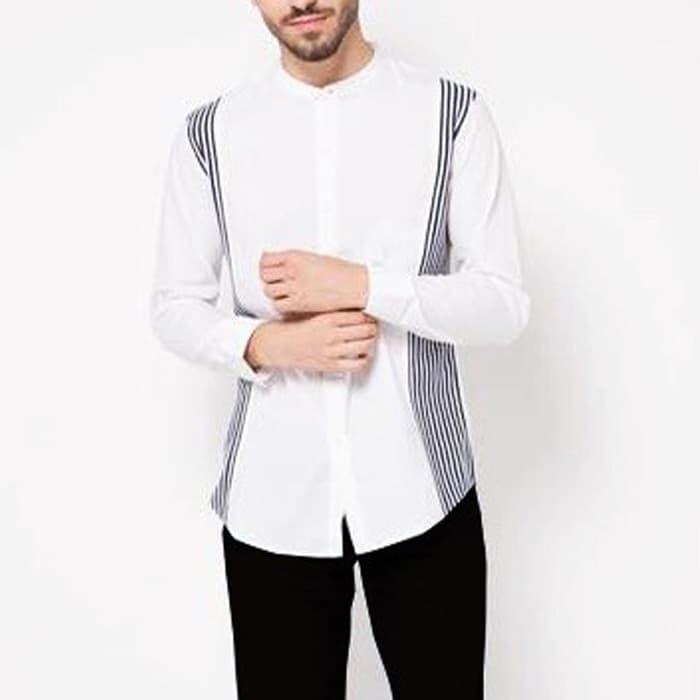 murah baju muslim VM Kemeja Baju Koko Muslim Panjang Slimfit Putih - 1